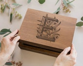 Floral Monogram Wood Keepsake Box - More Letters Available [Wood Anniversary Gift / Wedding Box / New Baby Gift / Personalized Memory Box]