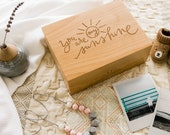 You Are My Sunshine Wood Keepsake Box [Memory Box / 5th, Fifth, Five Year Anniversary Gift / Baby or New Mother Gift]