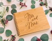 Mr. & Mrs. Wood Wedding Guest Book [Unique Wedding Guestbook / Rustic / Custom and Personalized / Laser Cut]