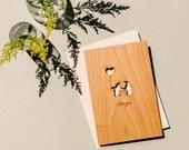 Penguin Love Wood Card [Five Year, Fifth, 5th Anniversary / Custom Message / Valentine / Boyfriend / Girlfriend / Hand Lettered]
