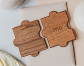 You & Me Puzzle Piece Wood Card [Personalized Gifts, Custom Message, 2 Pieces, Love, Anniversary, Wedding, Birthday, Just Because]