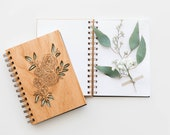 Ranunculus Laser Cut Wood Journal (Blank Pages Notebook/Flower Lovers/Mother's Day Gift/Christmas/Stocking Stuffer/Gratitude Journal)