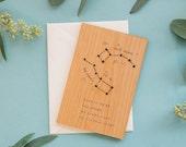 Big Dipper Wood Love Card [Five Year, Fifth, 5th Anniversary / Custom Anniversary / Valentine / Boyfriend / Girlfriend]