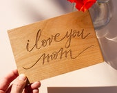 I Love You Mom Cursive Wood Mother's Day Card [Personalized Gifts for Mom, Custom Message, Birthday, Just Because]
