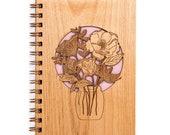 Wildflowers in Mason Jar Laser Cut Wood Journal