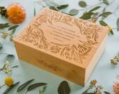 Garden of Flowers Alfred Tennyson Quote Wood Keepsake Box [Personalized Wedding Box / Valentine's Day Gift / Wood Anniversary / Memory Box]