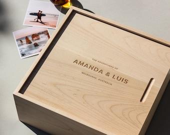Modern Minimalist Large Wood Personalized Keepsake Box [Personalized Custom Gifts, Anniversary, Wedding, Baby, Memory, Christmas, Holiday]