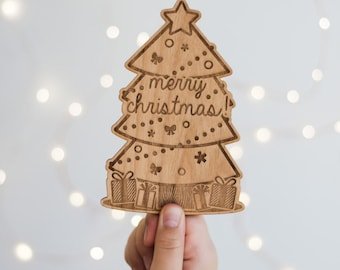 Merry Christmas Tree Wood Lasercut Card