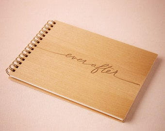 Ever After Wood Wedding Guest Book [Christmas, Gifts, Holiday, Wedding Gift, Rustic, Custom, Personalized, Laser Cut]