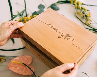 Ever After Wood Keepsake Box [Personalized Custom Gifts, Anniversary, Wedding, Memory]