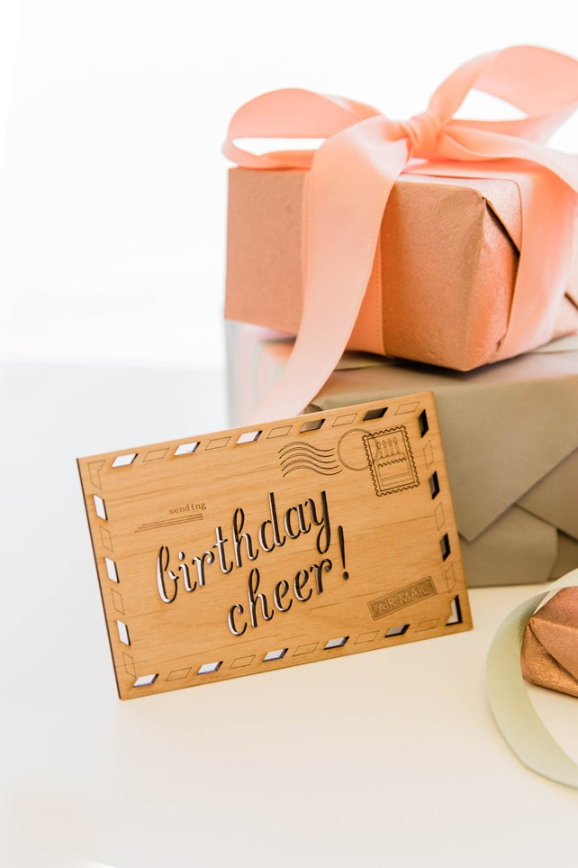 Birthday Cheer Wood Card [Unique Birthday / Wood Birthday Postcard]