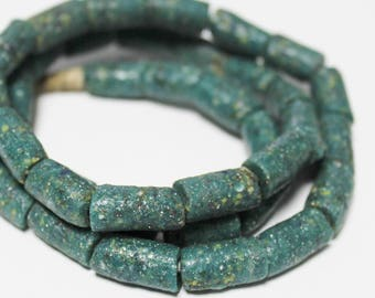 38 Rustic Green African Recycled Glass Beads, Jewelry Supplies (AP209)