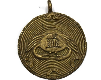 African Brass Crab Pendant 62X53 MM,Ethnic Pendants, Tribal Jewelry  Supplies (AR42)