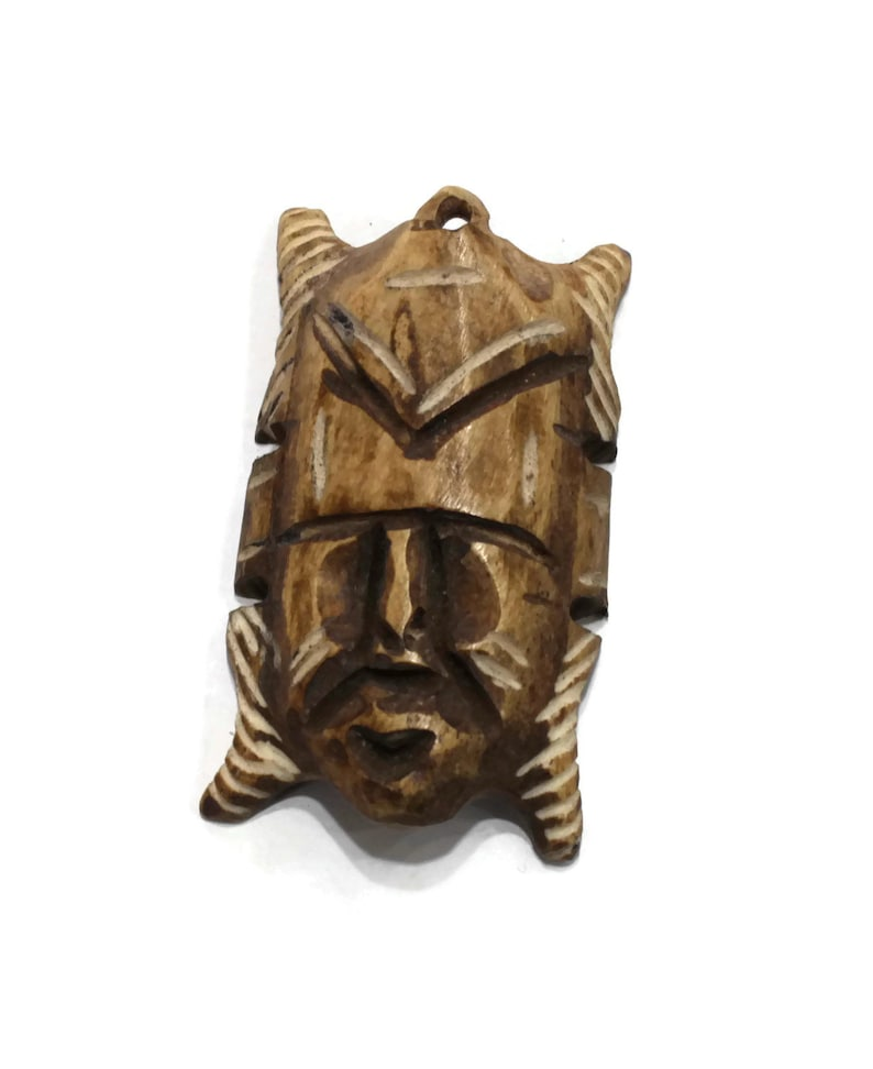 Unique Carved Bone Face Mask Pendant from Africa Tribal Pendant Ethnic Jewelry Supplies AR150