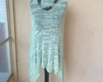 light green hand knitted poncho