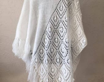 Hand knitted white shawl