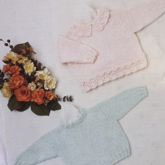 UK/EU SELLER Vintage pdf knitting pattern baby sweaters with | Etsy