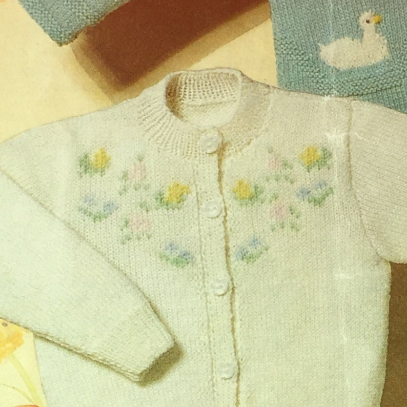 05f816f34 UK EU SELLER Vintage pdf knitting pattern Baby Cardies v-Neck