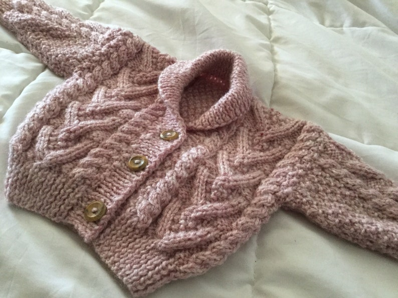 approx 0-6month roll neck collar 46cms UKEU SELLER Traditional Baby Girl Aran cardigan in pretty heather blend AranAlpaca wool Fits 18
