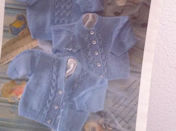 "Baby Girls Lacy Diamond Eyelet Matinee Coat Cardigan KNITTING PATTERN DK 16-20/"""