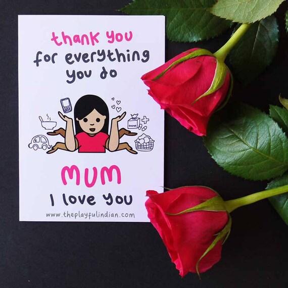Merci Pour Tout Maman Carte De Voeux Fête Des Mères Etsy