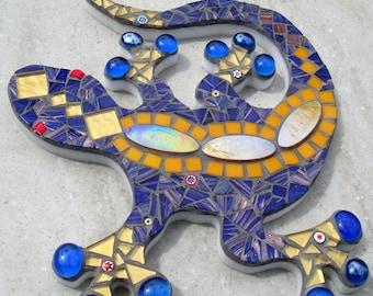 Outdoor Garden Decoration Ornament Mosaic Gecko Lizard Wall Plaque patio yard blue gift handmade uk custom bespoke OOAK lizard decor jungle
