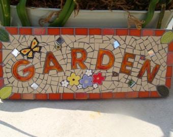 Mosaic Garden Sign, Plaque, Custom made, Bespoke,Ornament, Yard Art, Gift for Gardeners, garden gate sign, welcome