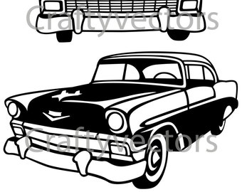 vw c er van vector etsy Chevy C10 chevrolet bel air 1956 vector file