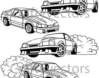 ford mustang 99 vector file etsy 1965 Mustang GT ford mustang fox body vector svg cut file