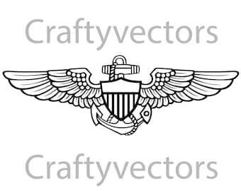 navy aviator insignia vector file | etsy  etsy