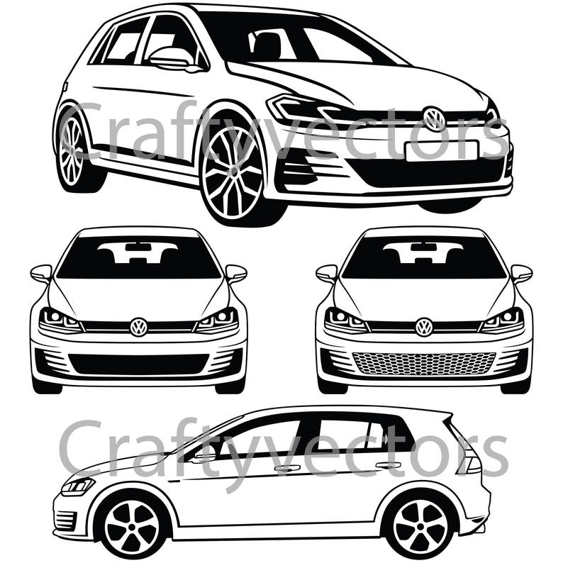 Vw Golf Gti 2017 Vector Etsy
