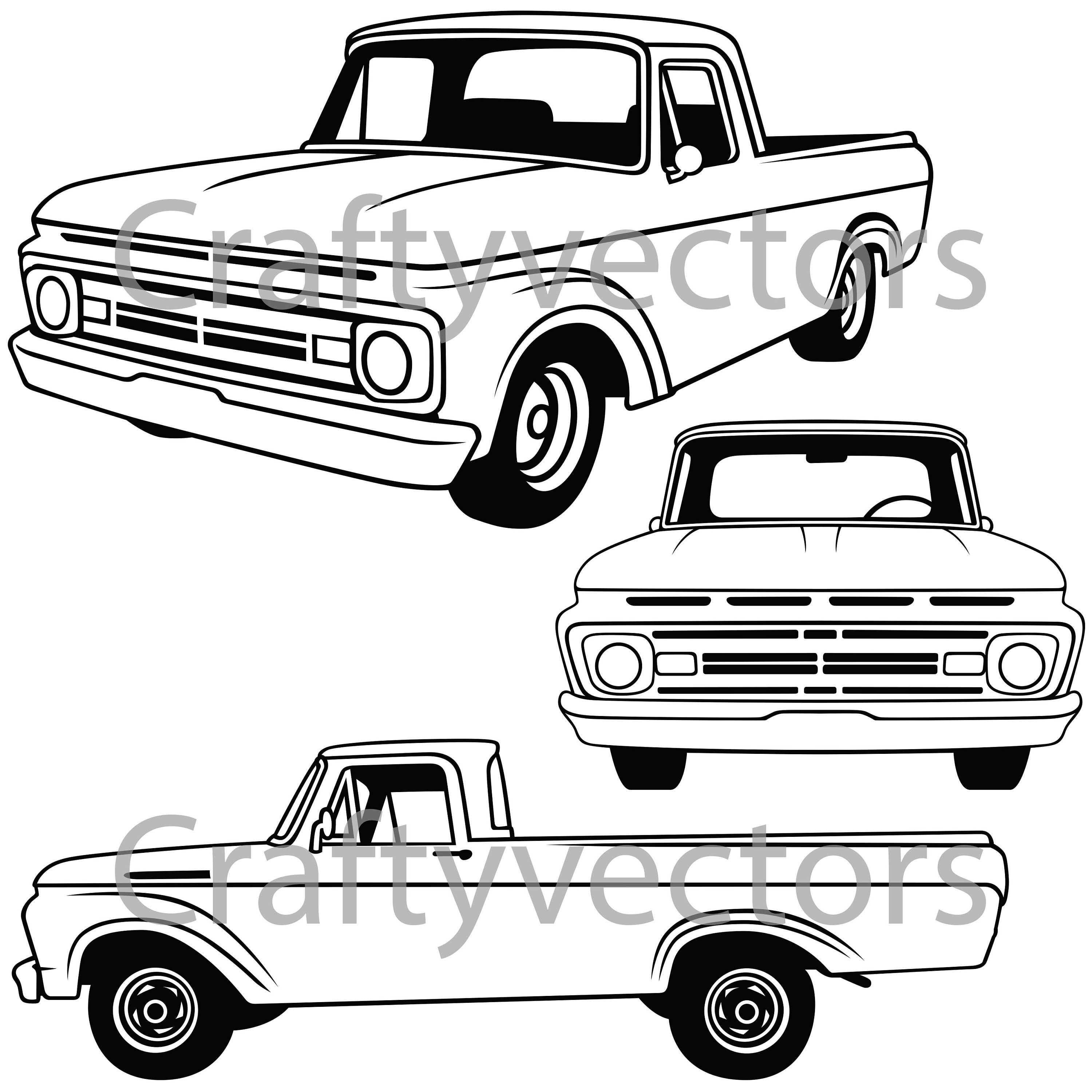 ford f100 1962 vector etsy 1982 Ford Coupe 50