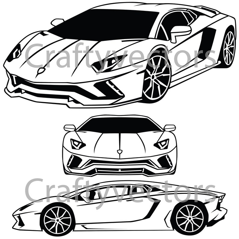 Lamborghini Aventador Coupe Vector File Etsy