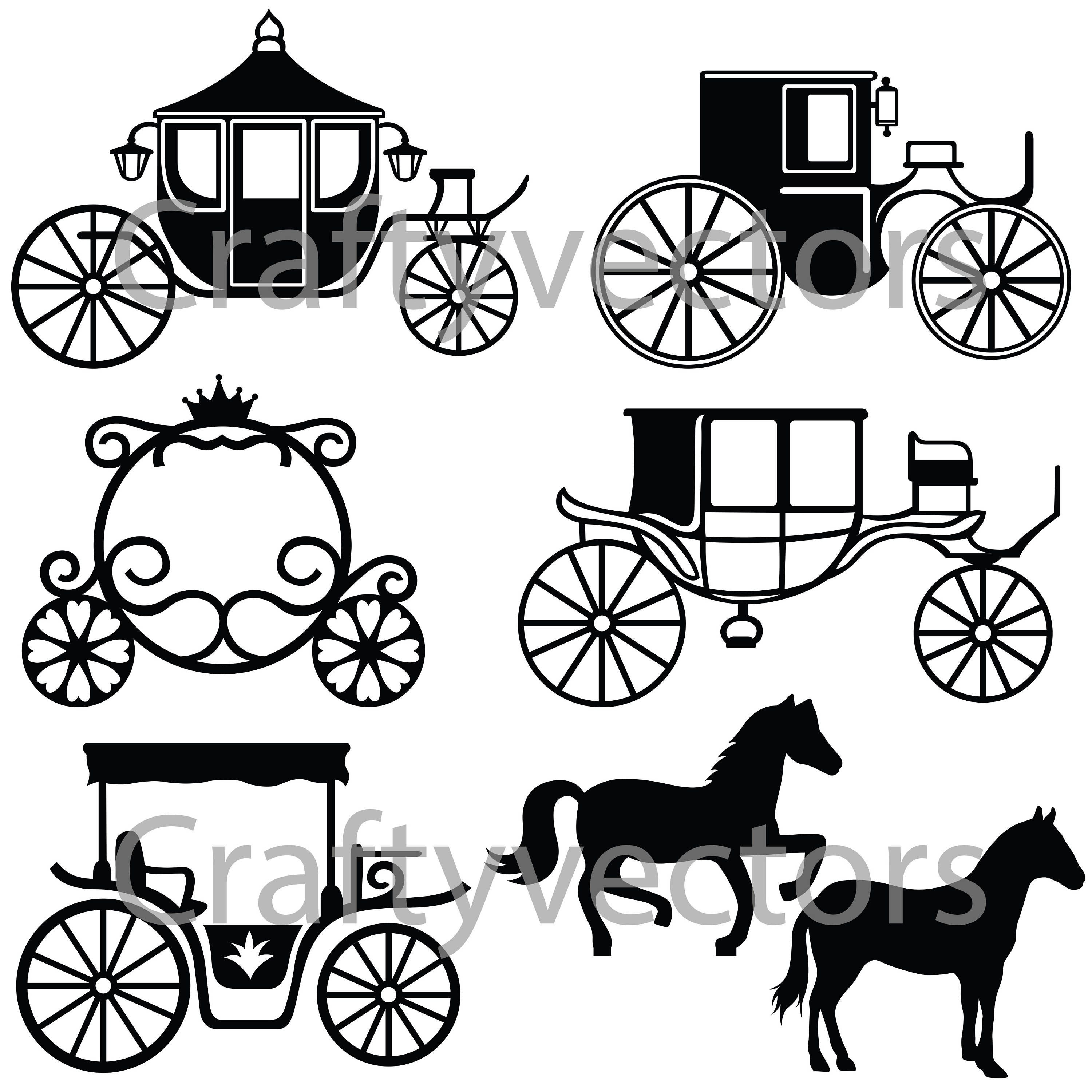 Horse-drawn Carriages Silhouettes Vector SVG