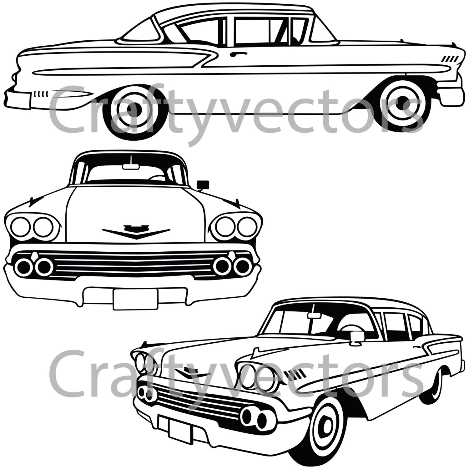 chevrolet bel air 1958 vector file etsy Geo Logo 50