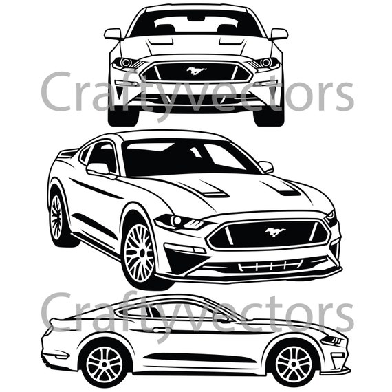 Ford Mustang 2018 vector SVG cut file