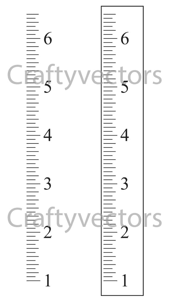 Ruler Growth Chart vector template Inches | Etsy