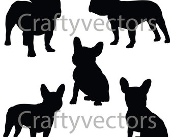 French Bulldog Silhouettes SVG