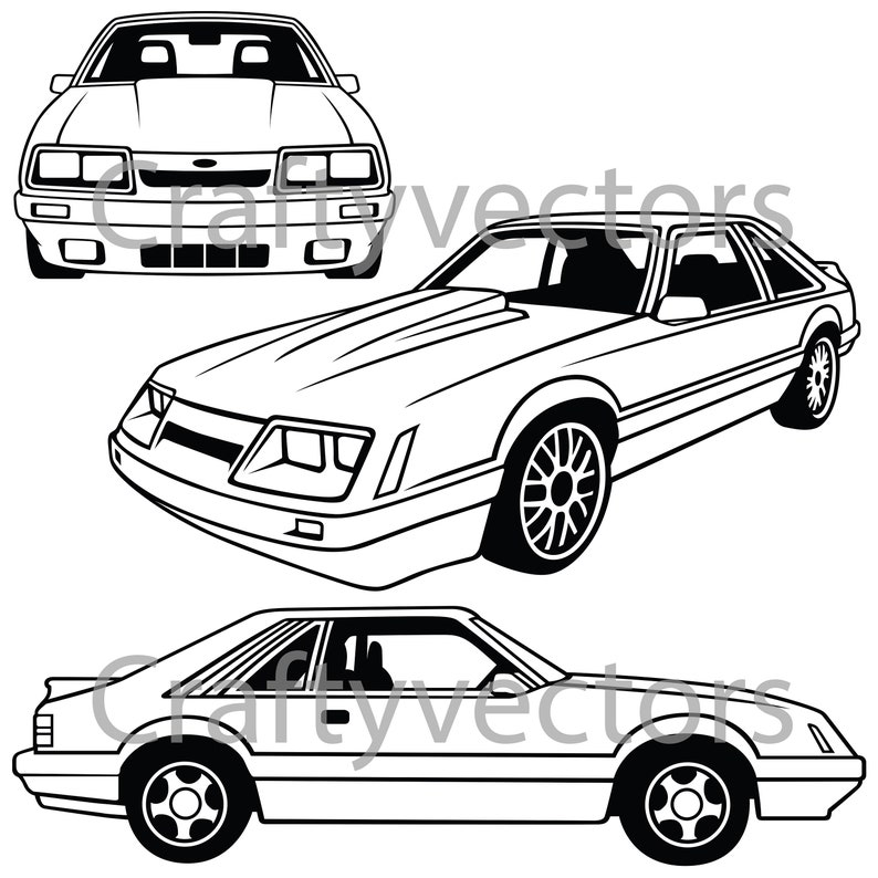 Ford Mustang 4 Eyes 86 Vector Svg Cut File