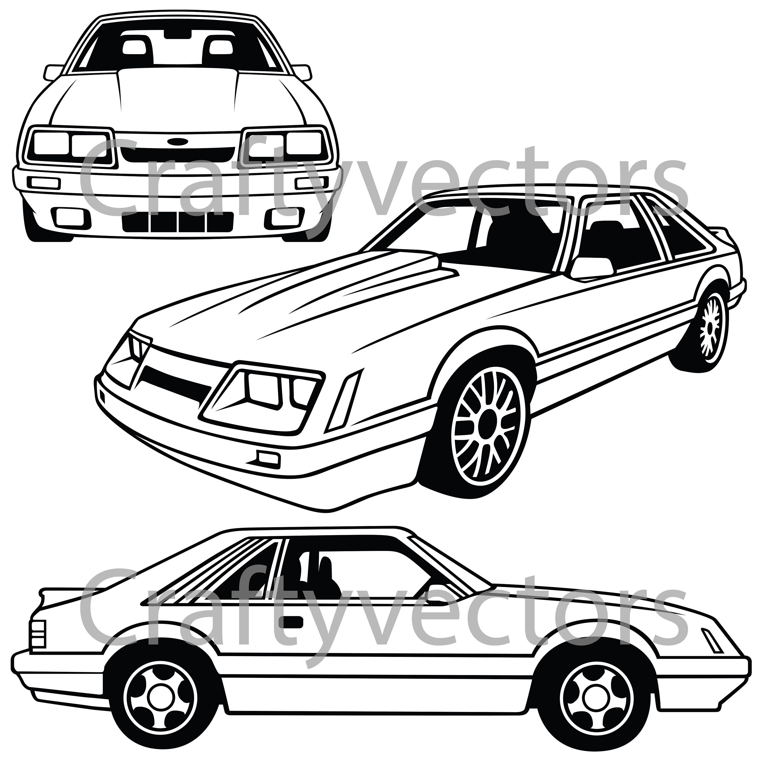 ford mustang 4 eyes 86 vector svg cut file etsy 1970 Dodge Charger 50