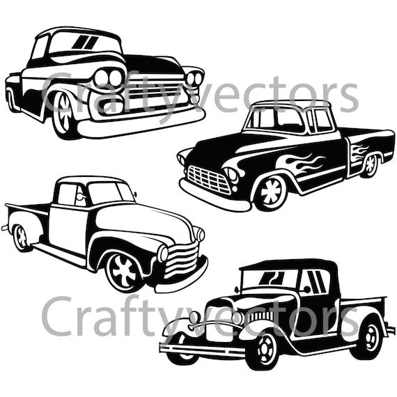 hot rod trucks svg vector files