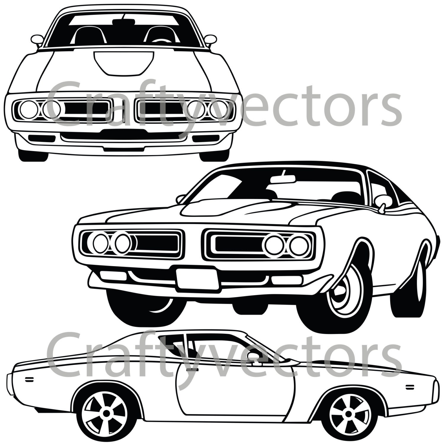 dodge charger 71 vector file etsy 1970 Coronet R T Convertible 50