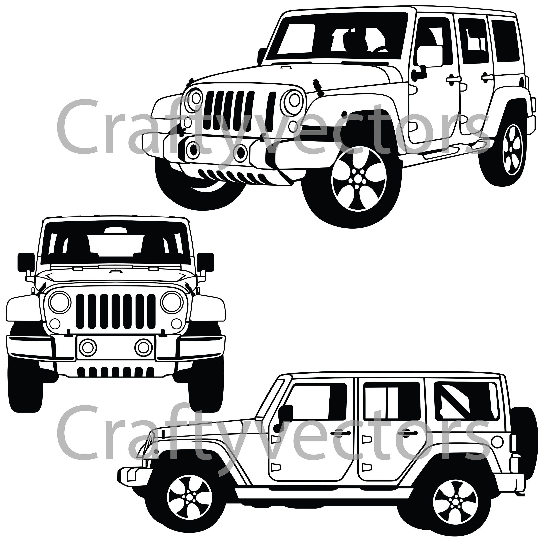 Jeep Wrangler Sahara 2017 Vector File