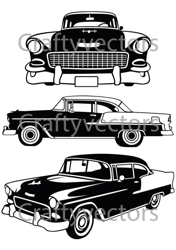 Chevrolet Bel Air 1955 Vector File Etsy
