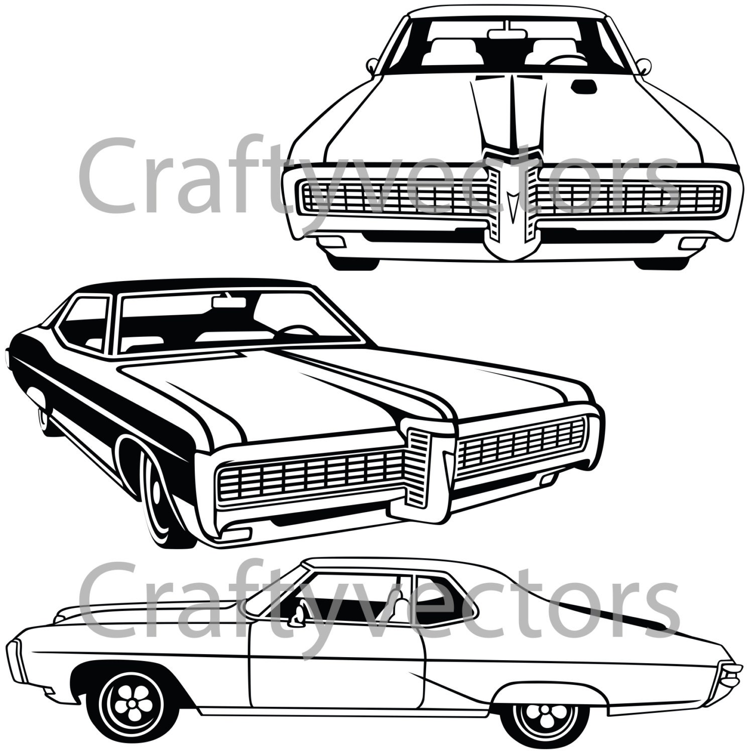 pontiac grand prix 1968 car vector file etsy Model Car Kits 50