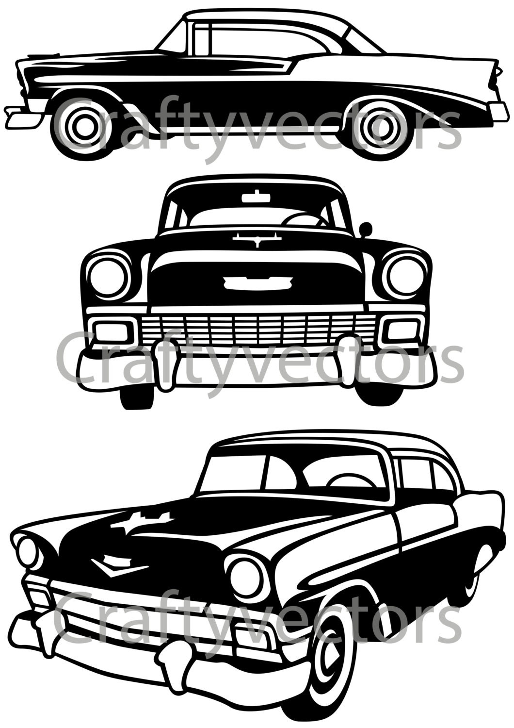 chevrolet bel air 1956 vector file etsy 1959 Chevy Cars 50