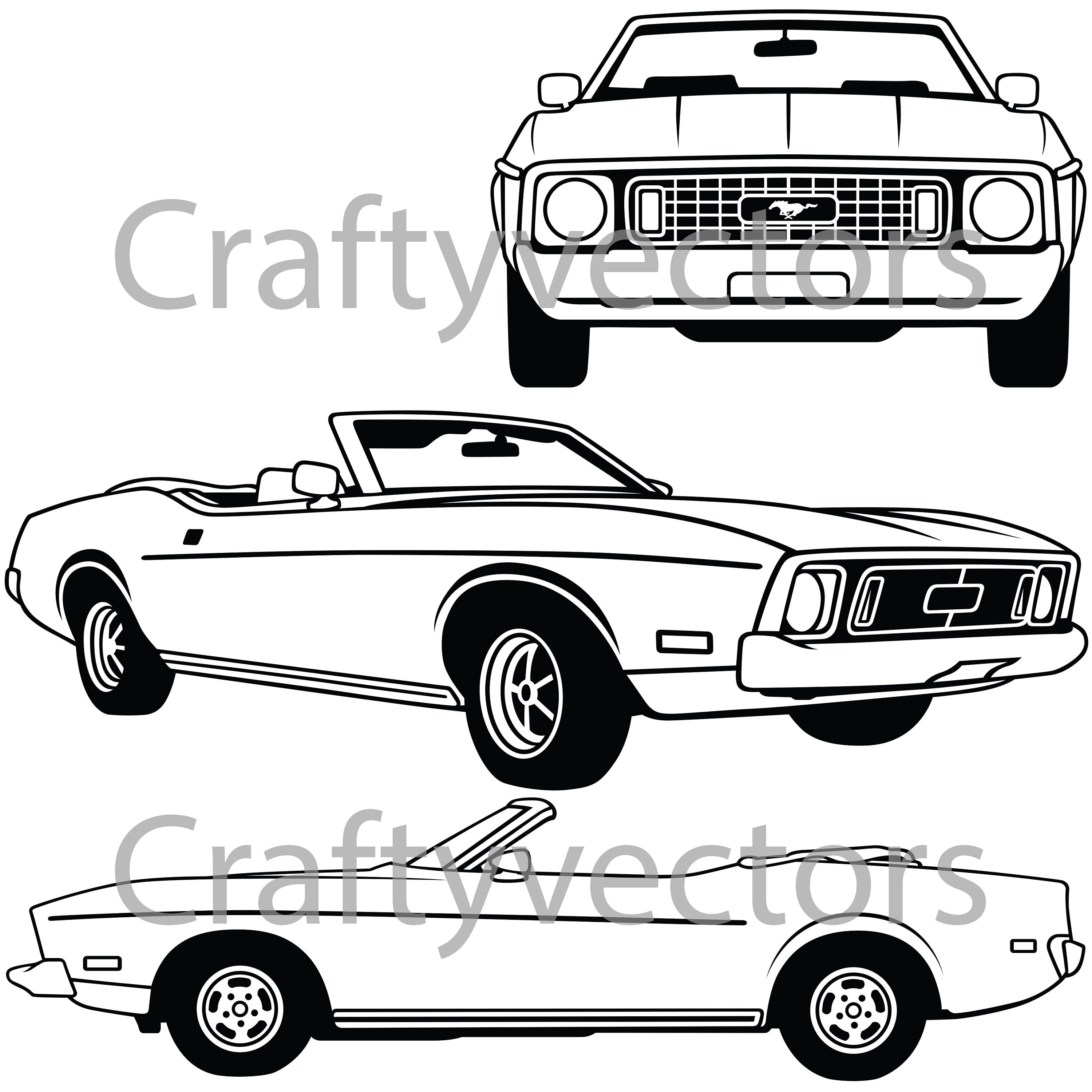 ford mustang 1973 convertible vector file etsy 1973 Mustang Two 50