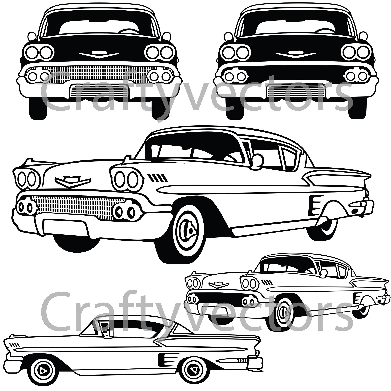 chevrolet impala 1958 vector file etsy Green C10 50