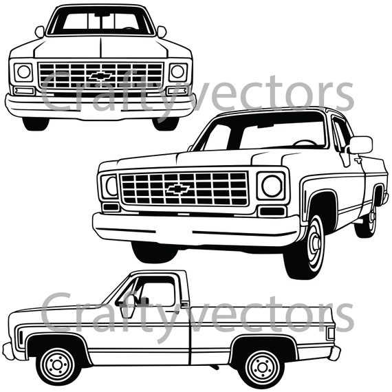 chevrolet c10 truck 1974 vector file