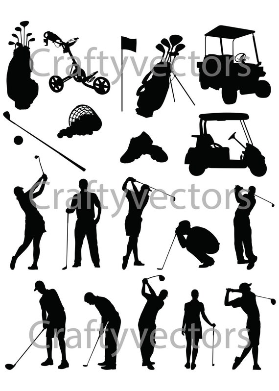 Golf Silhouettes Vector Svg Cut File Etsy